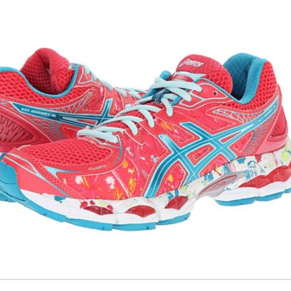 ASICS Gel Nimbus 16 pink splatter paint blue shoes